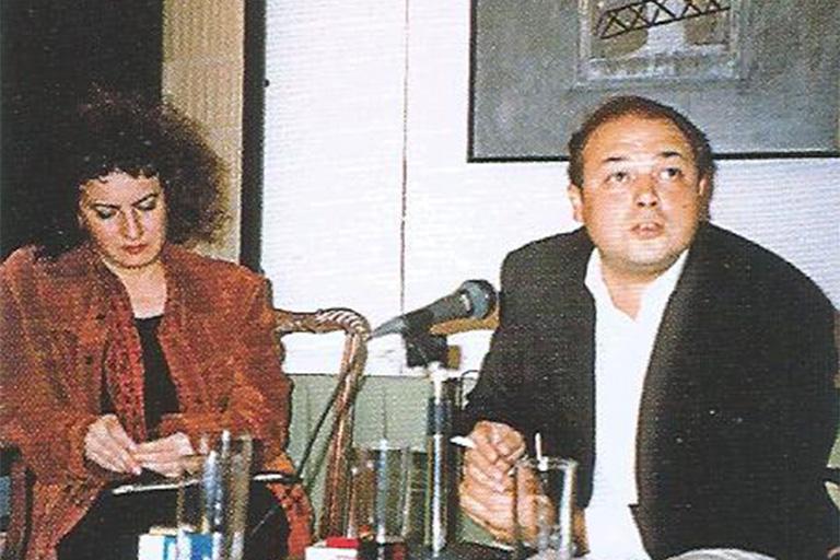 Lectura poética en la sede de Ramos Marín. Aurora Luque y Alfredo Taján