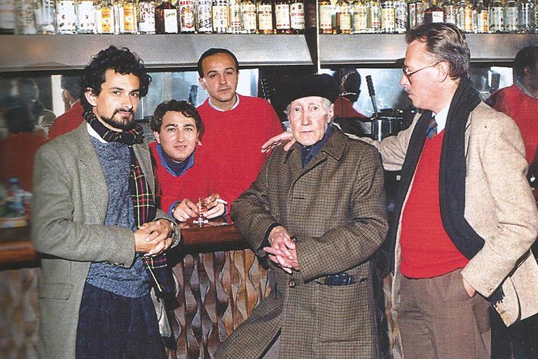 Bar del Ateneo. Rafael Alvarado, Salvador López Becerra, Andrés Silva, Luis Molledo
